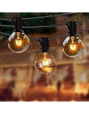 Backture Globe Lichtketting voor buiten, 9,5 m, 25 gloeilampen met 4 reservekampjes, warmwit, lichtketting, voor Kerstmis, tuin, terras, bruiloft, binnenplaats, feest, decoratie