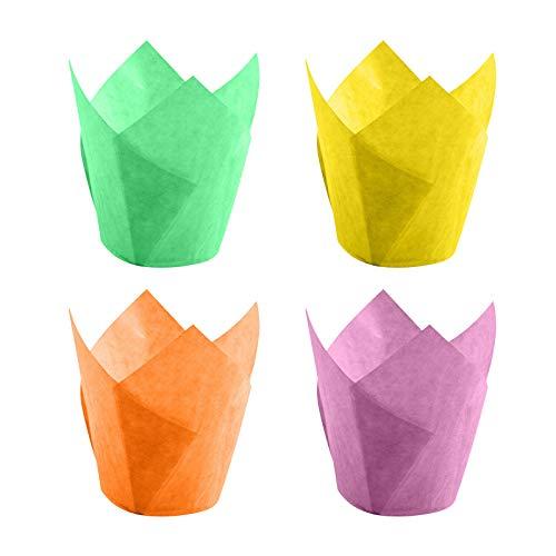 Backförmchen aus Papier in Tulpenform, Cupcake Muffin Zwischenlagen Wrapper, natürliches Backpapier, Cupcakes, Muffins, für Geburtstag, Party, Hochzeit, Babyparty (A, 8x8x5cm)