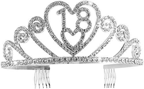 KEEBON Silver Diamond Crystal 18 cumpleaños Crystal Birhday Crown Crown Crown