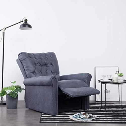 vidaXL Massagesessel mit Massage Heizfunktion Elektrisch Fernsehsessel TV Sessel Relaxsessel Relaxliege Ruhesessel Liegesessel Grau Wildleder-Optik