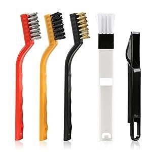 Kesote Conjunto de 4 Cepillos para Ventanas 2 en 1 Cepillo con Cuchara Desmontable + 3 Pinceles con Cerdas de Plástico, Hierro y Cobre Ideal para Ventana de Hogar u Oficina