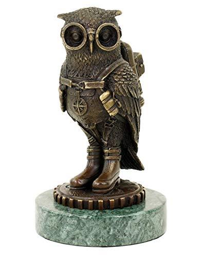 Steampunk Eule/Uhu/Vogel - Tierfigur - signiert Martin Klein - Gothik Statue - Höhe 18 cm - Moderne Kunst online kaufen - Bronzefigur - Bronzeskulptur - Bronzestatue - Deko