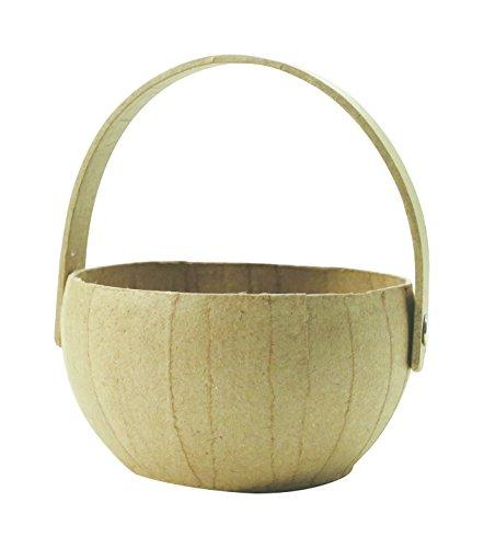 décopatch Mache Small Round Basket with Handle, 11x10x11.5cm-Brown Cesta Redonda de Papel, Color marrón