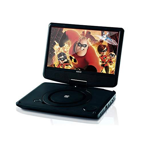 Akai ACT901 - Reproductor DVD portátil, LCD 9 , CD, UDB, pantalla giratoria