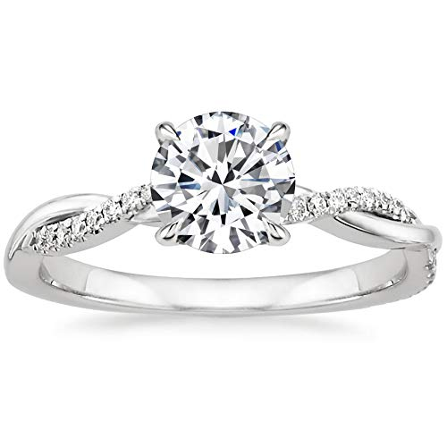 Engagement Ring 1 Carat Center Twisting Infinity Pave Set Moissanite Engagement Rings for Women 18k White Gold Size 7