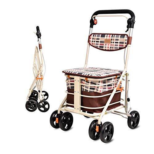 CHenXy Ältere Walker, Einkaufswagen klappbaren tragbaren Gehen Hilfswagen, Weiß medizinische Walker (Color : A)