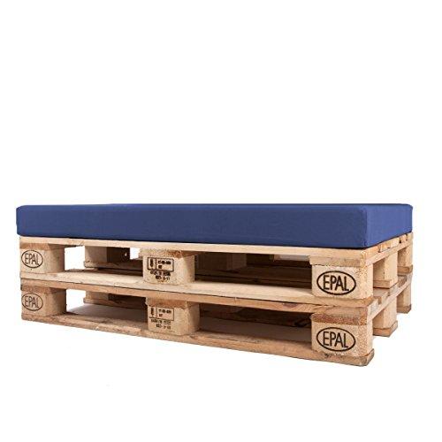 Arketicom Coussins Assise pour Palettes Canapè de Jardin Dehoussable Impermeable Pallet Exterieur Matelas Banquette Banc REVETEMENT Tissu Acrylique Meubles Salon de Jardin Bleu Profond 120x80x10 cm