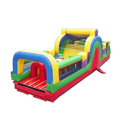 Retro Rainbow Inflatable Obstacle Course - with Rock Climbing Wall, Slide and Tunnel Entrance - 30'L x 11'w x 11' H - Commercial Grade Interactive Bouncer - Includes: Blower and Stakes