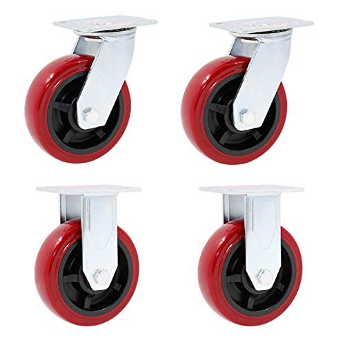 4 ruedas giratorias para servicio pesado ruedas para muebles ruedas de poliuretano de repuesto ruedas de placa industrial ruedas giratorias rodillos de transporte para banco de trabajo