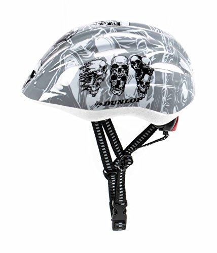 Kinder Fahrradhelm Dunlop für Radfahrer, Skater, Eisläufer und Skateboarder, entspricht DIN EN 1078, lieferbar in verschiedenen Designs, Biene / Flammen / Herz-Schmetterling / Blume / Skull / Stars & Stripes (Skull)