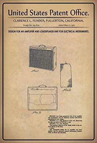 FS Patent ontwerp voor versterker Fender metalen bord bordje gewelfd Metal Sign 20 x 30 cm