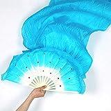 Matedepreso 1 Pieza Nuevo Coloridos Hecho a Mano Mujer Danza del Vientre Abanicos Herramientas Artificial Seda Bambú Largo Velo Abanicos para Mujer ~(Multicolor) - Azul, Free Size