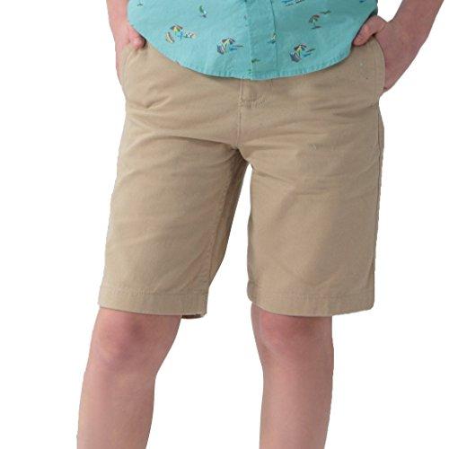 Leo&Lily Boys' Kids Elastic Waist Casual Fine Cotton Chino Shorts (Khaki, 10)