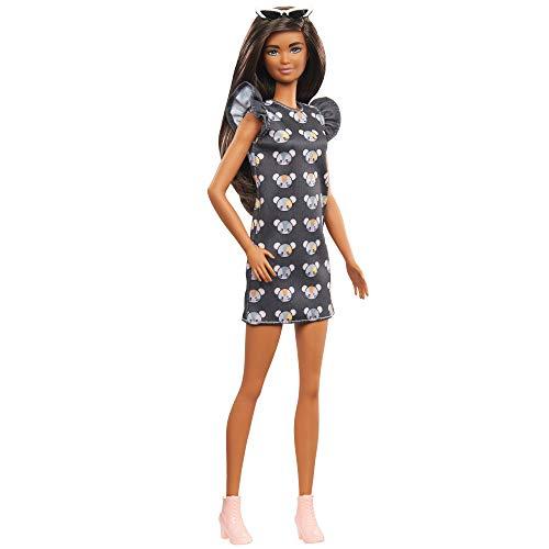 Barbie Fashionista Muñeca morena con vestido estampado de ratones y accesorios de...