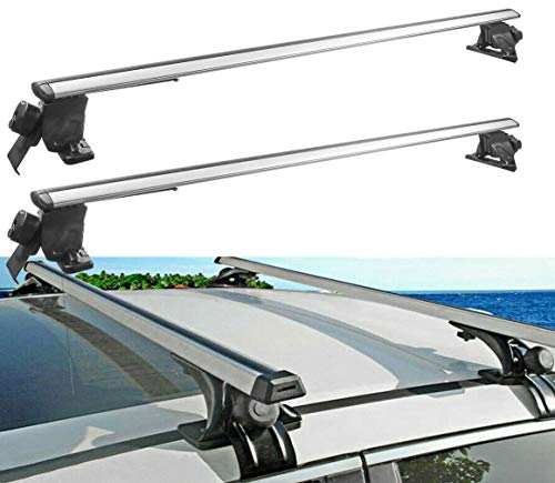MOSTPLUS Universal Roof Rack Cross Bar Luggage Rack 52 inch Compatible with Dodge Chevy Toyota-4 Clamps with Anti-Theft Design