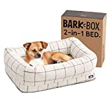 Barkbox 2-in-1 Memory Foam Dog Bolster Bed   High Density 3'' Orthopedic Joint Relief Crate Lounger or Donut Pillow Bed, Machine Washable + Removable Cover   Waterproof Lining   Small, White Plaid