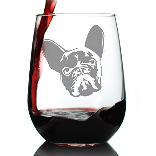 French Bulldog Stemless Wine Glass - Large 17 oz Glasses - Cute Gifts for Dog Lovers with a Frenchie