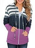 SMENG Sudaderas con capucha para mujer, sudadera con cordón, manga larga, bloque de color cómodo, tops