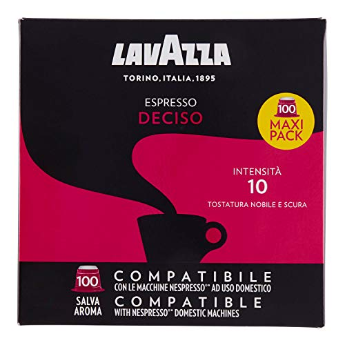 Lavazza Deciso Espresso Dark Roast Capsules Compatible with Nespresso® Original* Machines (Pack of 100)