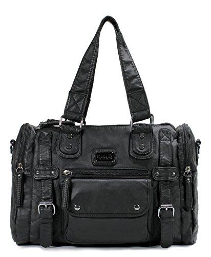 Scarleton Satchel Handbag for Women, Ultra Soft Washed Vegan Leather Crossbody Bag, Shoulder Bag, Tote Purse, Black, H148501