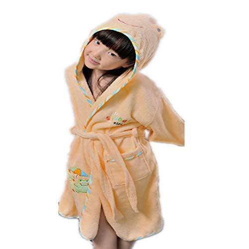 Kinderen Badjas, Child Pure katoenen handdoek badjas Sleeping Robe Childrens Suck Water Zwemmen alle katoen Badjas voor Babys Jongens Meisjes,Flesh,M
