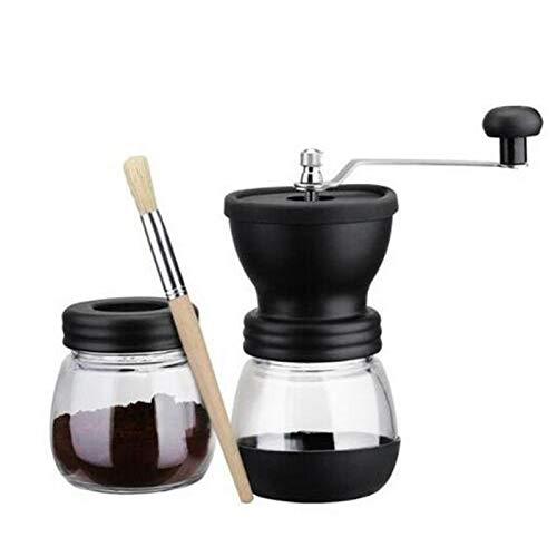 MEIGONGJU Durable Coffee-Shop Kaffeemühle Manuelle Keramik Grat Kaffeemühle, Kaffeekanne mit gehärtetem Glas Vorratsglas