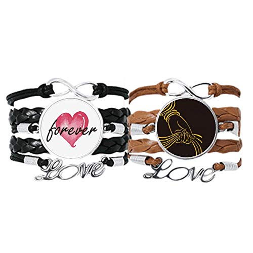 DIYthinker Culture Religion Handschal Muster Armband Handschlaufe Leder Seil Forever Love Armband Doppelset