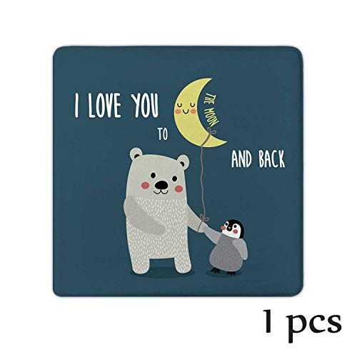 Atokker I Love You,Chair/Seat Cushion Pad Chair Pads and Penguin Best Arctic Lovers Under Moon Cartoon Nursery Glider Ottoman Set 1 Pack
