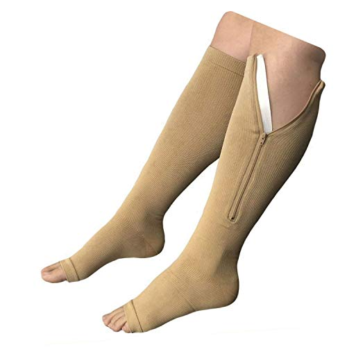 Medias de compresión con cierre, hasta la rodilla, de punta abierta (Big & Tall 3XL), medias de apoyo para la pantorrilla y pierna, Beige, 1