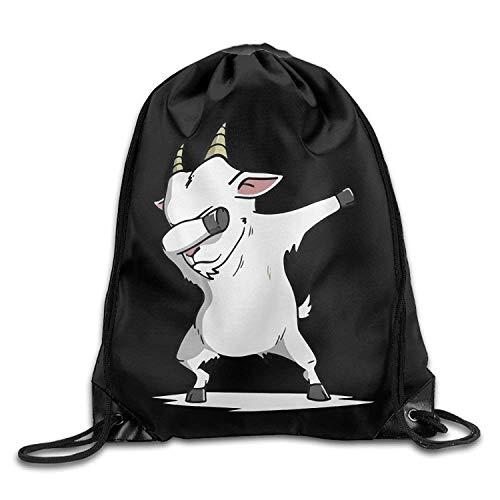 Ccsoixu Dabbing Goat Drawstring Backpack Bag Beam Mouth Yoga Sackpack Rucksack Shoulder Bags for Men & Women,Drawstring Bag Sport Gym Backpack Gym Bag for Men and Women