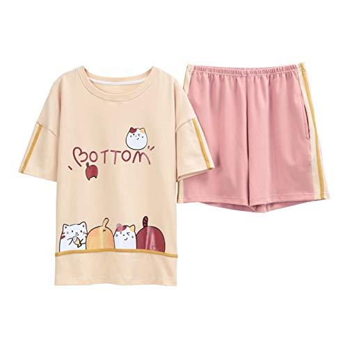 FLORVEY Conjunto de Pijamas Rosa para Mujer Ropa de Dormir con patrn de Gato Bonito Ropa de Dormir de Cuello Redondo Pijamas Cortos de Moda Pijamas Ropa Interior de Dibujos Animados