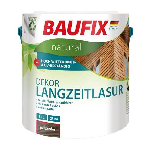 BAUFIX natural Dekor-Langzeitlasur palisander, 2.5 Liter, Öko Holzlasur, atmungsaktive Ökofarbe aus nachhaltiger Produktion für außen-innen, vegan, UV-beständig, für alle Nadel-&harthölzer geeignet