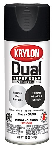Krylon K08823007 Dual Superbond Primer Spray Paint, 12 Ounce Aerosol, Satin Black