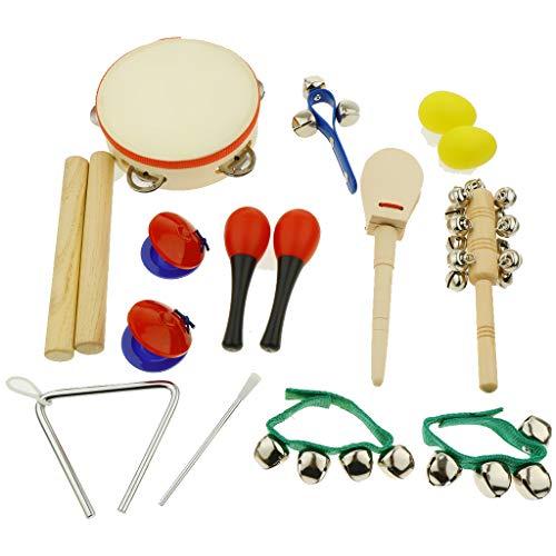 Non brand Homyl Strumenti Musicali Giocattolo per Bambini Tamburello Maraca Sonaglio Sabbia Egg Shaker Hammer Castanet Kit Campanello Triangolare