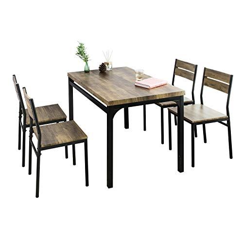 SoBuy Table de Salle à Manger avec 4 Chaises Lot Table et 4 Chaise de Style Industriel pour Cuisine Salle à...