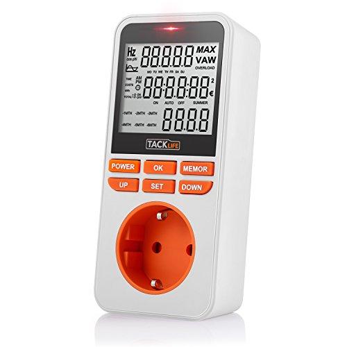 Energiekostenmessgerät Tacklife MPM02 Digitale Zeitschaltuhr Steckdose mit Kindersicherung, Zufallsschaltung und Großem LCD Bildschirm 12/24h-Modus Sommerzeit Einstellung