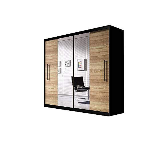 MOEBLO Kleiderschrank Schwebetürenschrank mit Spiegel 2-türig Schrank mit vielen Einlegeböden und Kleiderstange Gaderobe Schiebtüren BxHxT 204x218x58 - NICO (Schwarz + Sonoma)