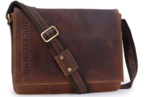 BUCKLESTONE - Large Leather Messenger/Shoulder Bag - Laptop Compartment - Leather - Chester (L) - Hunter Brown