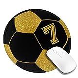 PEIGJH Redondo Alfombrilla Raton Gaming Jugador de fútbol 7 No 7 Fútbol con Base de Goma Antideslizante para Gamers, PC y Portátil