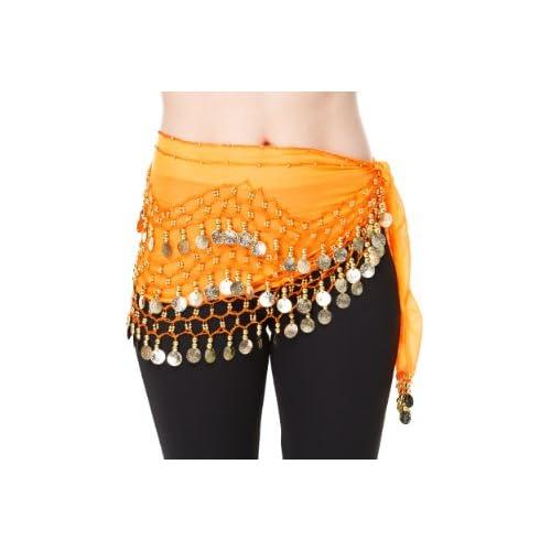 The Turkish Emporium Danza del Ventre Hip Gonna Wrap Costume orientale sciarpa NUOVA Cintura in chiffon, arancione con monete d'oro