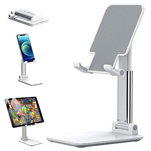 Soporte para teléfono móvil, soporte ajustable en altura de tenlamp para teléfono celular, soporte para escritorio, compatible con todos los teléfonos móviles, iPhone, interruptor, iPad, tableta (blanco)