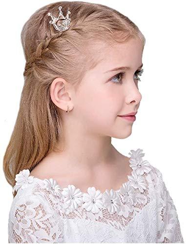 hsj Tiara Headdress Girls Crown Capelli Accessori for Capelli Principessa Little Corona Accessori Performance Clip for Capelli di Compleanno Collocazione (Color : Silver)