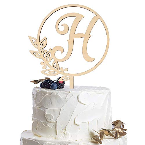 Letter H Personalized Initial Wood Cake Topper Monogram Wedding Anniversary Birthday Vow Reveal Party Decoration Supplies.