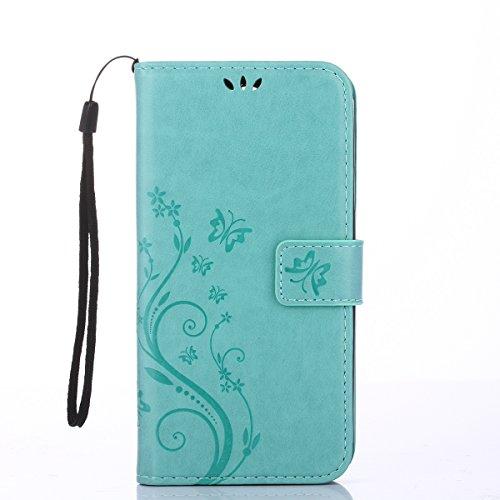 Alfort LG K4 Hülle, LG K4 Schutzhülle, Lederhülle PU Leder Tasche Cover Wallet Hülle für LG K4 Smartphone Schmetterling (Grün)