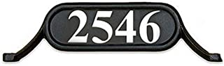 ADDRESSES OF DISTINCTION Williamsburg Style 2 Address Plate – Contemporary Plaque for House Numbers – Rust Proof Aluminum Mailbox Topper – Mounting Hardware Included (Silver Reflective Vinyl Numbers)