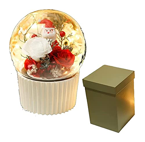 GDYJP Navidad Santa Claus Rose Music Box, Padre Hecho a Mano Navidad, Flor Preservada Rosa Real Rose en Cúpula Musical de Vidrio, Regalo for Sus Mujeres Chicas En Día De La Madre, Cumpleaños