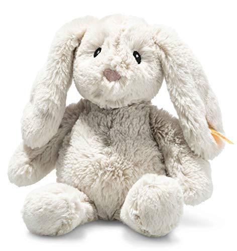 Steiff Soft Cuddly Friends Hoppie Hase-20 cm-Kuscheltier für Babys – kuschelig & weich-waschbar-hellgrau (242243), 20 cm