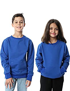 Kady Cotton Kangaroo-Pockets Sweatshirt for Kids - Blue, 6 Years