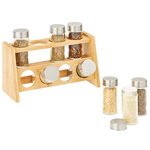 mDesign Estante para Especias para el Armario de la Cocina o la encimera – Especiero de Madera de Dos estantes con 8 frascos para Especias – Organizador de condimentos de bambú Claro – Natural