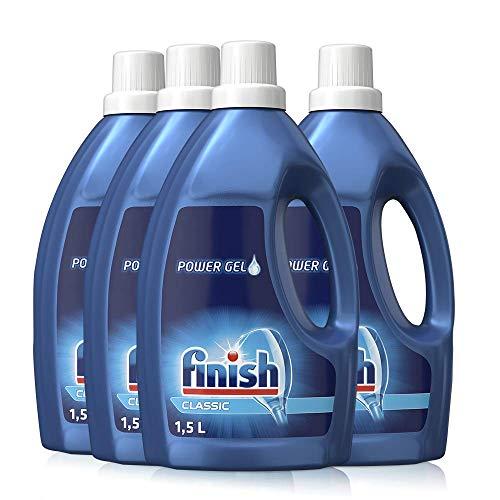 Finish Classic Power Gel, phosphatfrei – Geschirrspülmittel für die Spülmaschine für brillante Spülergebnisse – Sparpack mit 4 x 1,5 l Spülmaschinengel
